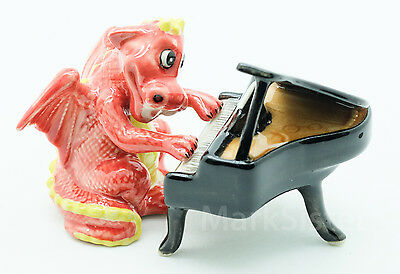Figurine Animal Ceramic Statue Dragon Playing Piano Musical - SMC022-4