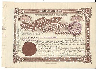 The Findley Gold Mining Company (Colorado).....1900 Stock Certificate
