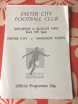 Exeter City v Swindon Town friendly 1992