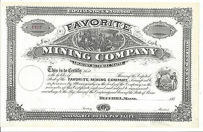 Favorite Mining Company(Blue Hill, Maine)...1880's Unissued Stock Certificate