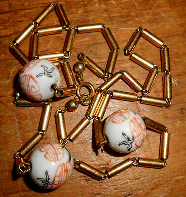 Vintage Necklace of CERAMIC CHINESE BEADS HAND-PAINTED WITH AUSPICIOUS CHARACTER