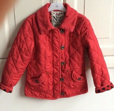 Next Girls Red Quilted,  Cord Trimmed, Fleece Lined Jacket Age 7-8