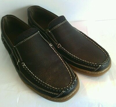 Men's Brown Slip On Loafer Pebbled Synthetic Leather look Casual Sz 10 Shoes