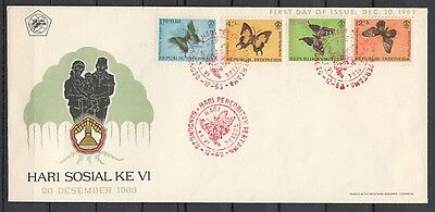 / Indonesia, Scott cat. B156-159. Butterflies issue on a First day cover.