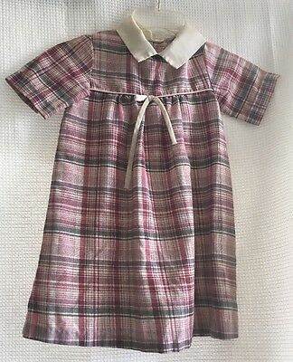 Vintage Sears Perma Press Plaid Toddlers Dress Pink Size 6