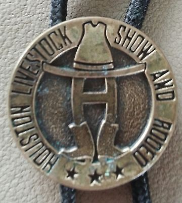 Vintage Houston Livestock Show And Rodeo Bolo Tie Medallion Pin