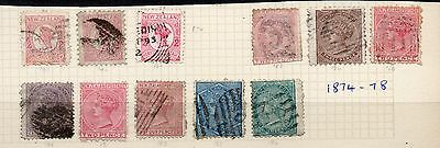 New Zealand 1873-78 Victoria Collection To 1/- Blue - Mostly Good Used
