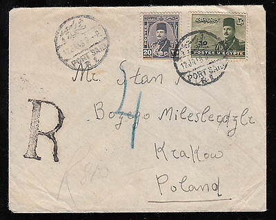 Egypt - Poland 1948 Reg. Used Cover From Port Said To Krakow