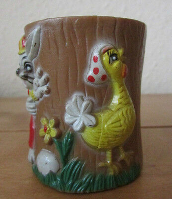 Fab Rare Vintage Retro Childs Plastic Novelty Egg Cup With Rabbit And Chicken
