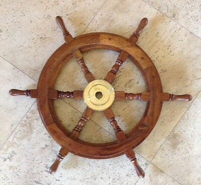 """Authentic Vintage Solid Wood & BRASS Ship's Helm Steering Wheel ~ 25"""" Round"""