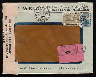 Egypt 1921 Reg.censored Cover From Cairo To Speyer Resealed Red Wax