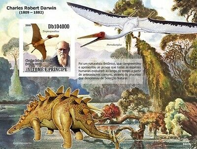 Sao Tome 2009 Dinosaurs Charles Darwin IMPERF S/S ST9407