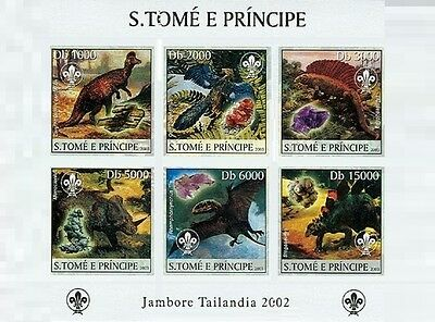 Sao Tome Dinosaurs & Minerals & Scouts Scouting IMPERF S/S C3 St3225