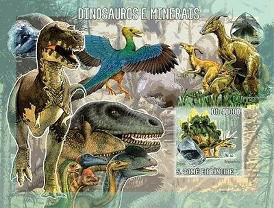 Sao Tome 2006 Prehistoric Animals Dinosaurs & Minerals IMPERF S/S ST6207