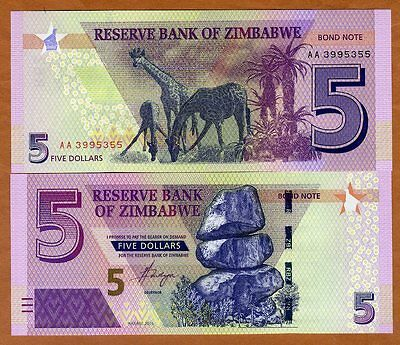 Zimbabwe, 5 dollars, 2016 (2017), P-New, Redesigned, UNC