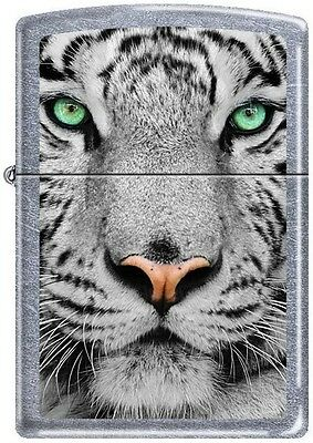 """Zippo Animal Lighter """"White Wolf With Red Eyes """" on street chrome finish - 28877"""