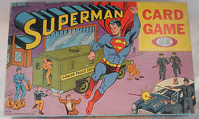 Superman 1966 Ideal Card Game 36 Cards 4Game Pegs 4Tokens Great Box