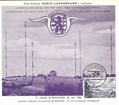 Luxembourg FDC cards 1953 Victor Hugo and Radio Luxembourg issues