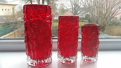 Whitefriars Ruby small bark vase pat 9689