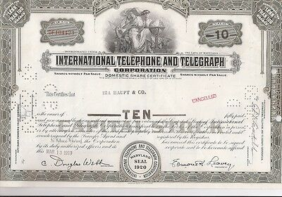 International Telephone And Telegraph Corporation...1954 Stock Certificate