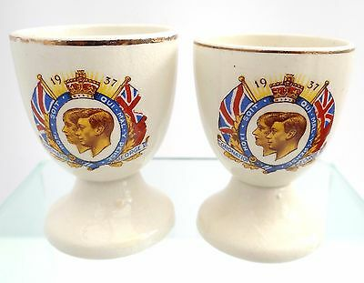 His Majesty King George V & Queen Mary 1937 Royal Coronation China Egg Cups