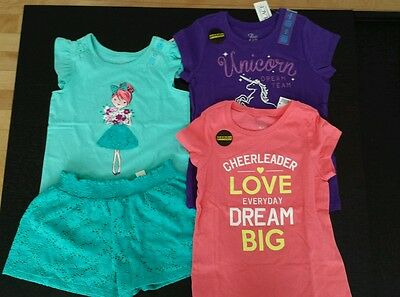 LOT NWT Children's Place Girl T-Shirt Summer Shorts Ruffles Outfit Small 5T 5/6