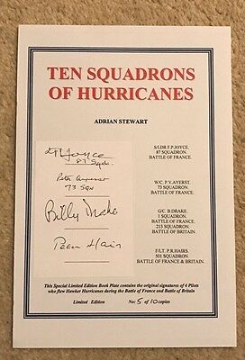 Ten Squadrons Of Hurricanes - RAF Battle Of Britain & France Signed Bookplate