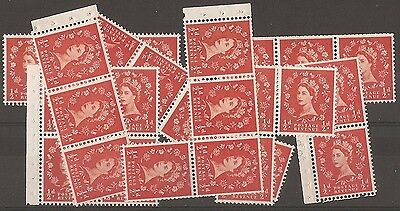 1953/67  1/2d ORANGE. SELECTION OF PART BOOKLET PANES.  UNMOUNTED MINT