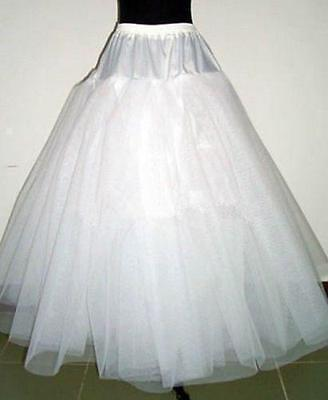 White 3-Layers Tulle Hoopless Wedding Dress Underskirt/Underdress Petticoat H03