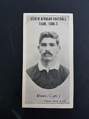 RARE - TADDY 1906 cigarette tobacco card SOUTH AFRICAN FOOTBALL TEAM Roos Capt