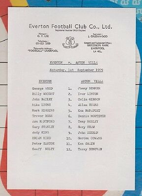 Everton v Aston Villa Original Authentic Teamsheet 1979