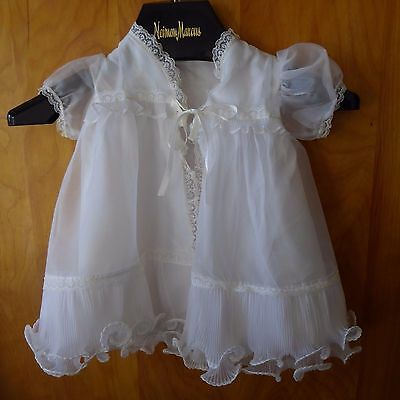 Vintage 1950s Baby Christening Gown Dress Diaper Cover White Ruffles Lace Unworn