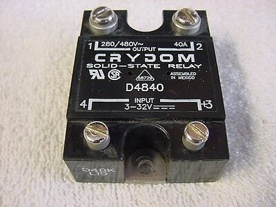 Crydom Solid State Relay, D4840, SPST-NO, 40A, 48-480VAC, New