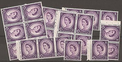 1953/67  3d  VIOLET  SELECTION OF PART BOOKLET PANES.  UNMOUNTED MINT