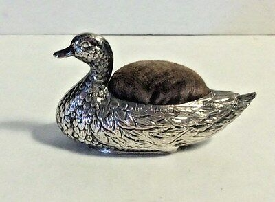 Antique Adie & Lovekin Sterling Silver Birmingham Duck Pin Cushion Sewing #243