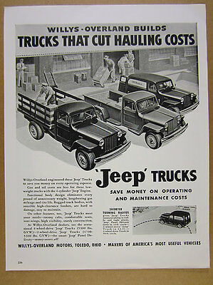 1948 Willys-Overland JEEP Trucks pickup stake delivery truck vintage print Ad