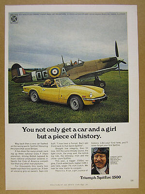 1973 Triumph Spitfire 1500 & Fighter Pilot Ginger Lacey photo vintage print Ad
