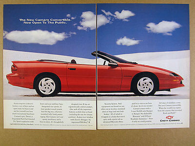 1994 Chevy CAMARO Convertible red car photo vintage print Ad