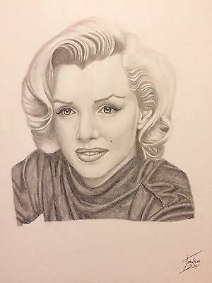 Original Signed Pencil Drawing Of Marilyn Monroe - A3