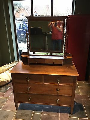 Antique  Satinwood Dressing Chest Table Chest Of Drawers Mirrored