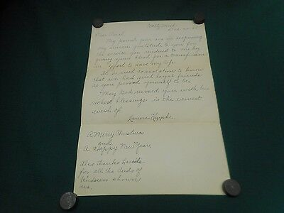 Vintage 1939 Handwritten Thank You Letter Note for Blood Transfusion Donation