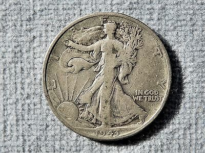 1943 D WALKING LIBERTY HALF DOLLAR 90% Silver  GRADES GOOD