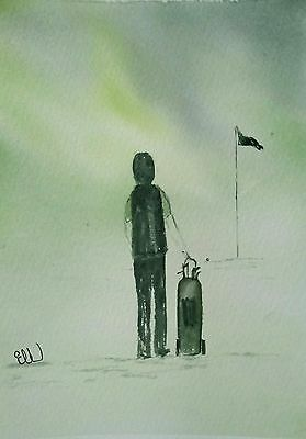 Original watercolour painting. Dad's on the golf green.