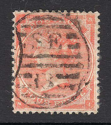 SG82  4d Pale Red with Hairlines -  Wmk  Lge Garter - Fine Used (N-I)  Cat £150