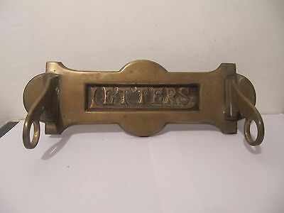 Antique Vintage Brass 'Letters' Door Post Box Victorian or Edwardian Salvage