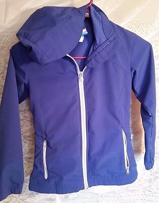 COLUMBIA Girls Blue hooded Windbreaker Rain Coat Jacket Omni Shield Size 7/8 EUC
