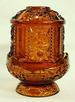 Indiana Candle Holder Star & Panel Tea Light  2pc Fairy Lamp Amber Glass