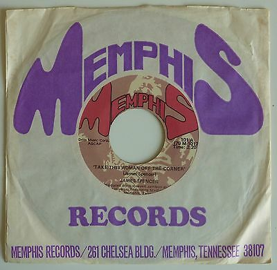 "James Spencer - Take This Woman Off The Corner 7"" - 1970 Usa Memphis  101"