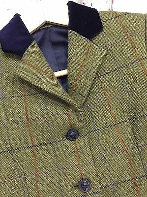 """Mears Pytchley Green Tweed Show jacket, Multicolour Check, Size 28"""""""