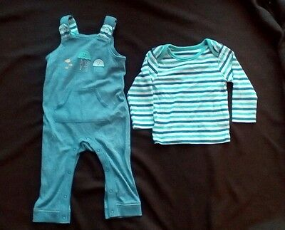 Octopus Dungaree and T Shirt Set by Marks and Spencer - Size 6-9 Months